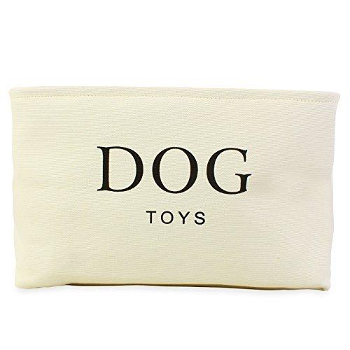 Hochwertiger Korb für Hundespielzeug, Zelttuch, 40x 30x 25cm, cremefarben