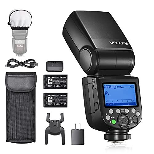Godox V860IIIN TTL Flash per fotocamera Nikon, 76Ws 2.4G HSS, Batteria Li-ion 7.2V/2600mAh, 0.01-1.5s Tempo di riciclo, Lampada da modellismo a 10 livelli LED, con batteria supplementare
