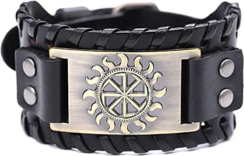 AMOZ Vintage Nordic Slavic Solar Symbol Sun Wheel Amuleto Brazalete Pulsera de Cuero para Hombres Y Mujeres,Bronce Antiguo