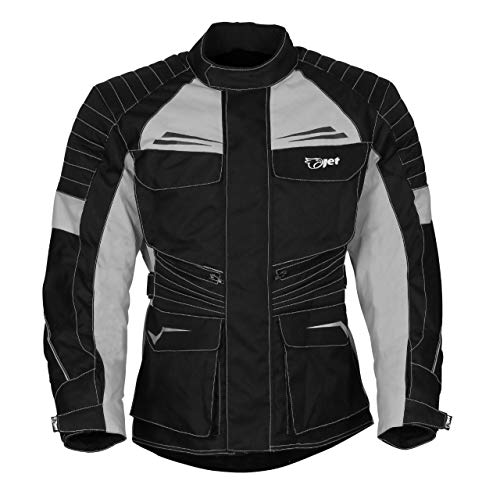 Jet Chaqueta Moto Hombre Textil Impermeable con Armadura Titan (S (EU 46-48), Plateado Negro)