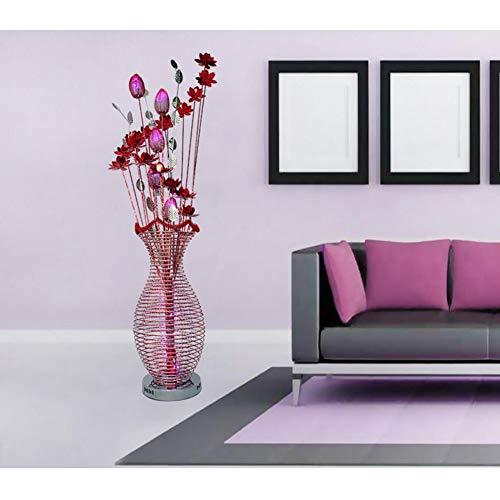 Dongbin Led Stehlampe Moderne Aluminium Drahtgeflecht Rot Silber Lotus Blume Vase Form DREI-Farbe Dimmen Für Wohnzimmer Schlafzimmer Büro Schöne Decor,Rot