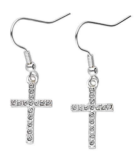 SIX Pendientes de cristal y cruz para mujer (635-848)