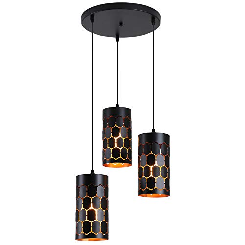 3-Light Modern Kitchen Island Lighting with Cylindrical Metal Cage, Industrial Round Base Multi Pendant Light Fixture for Dining Room Living Room Farmhouse, Gold Inner and Black