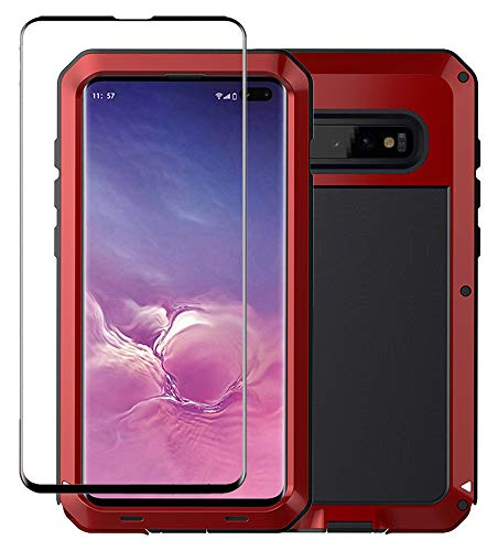 Tomplus Galaxy S10 Plus Case, Military Grade Drop Tested, Anodized Aluminum, Heavy Duty, Full-Body Dual Layer Rugged, TPU and Metal Protective Case for Samsung Galaxy S10 Plus (Red)