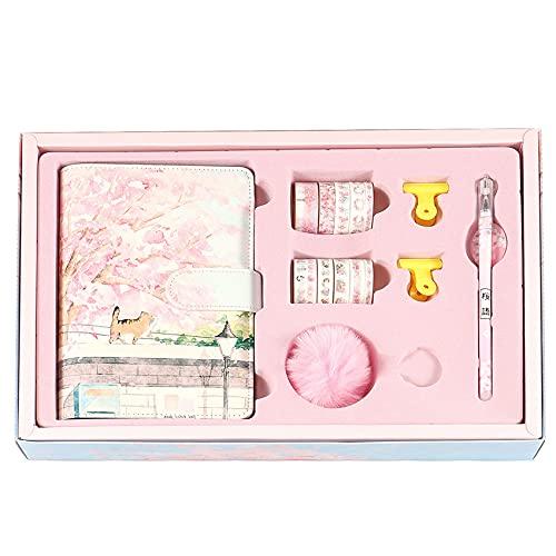 Motyy Flor de Cerezo Sakura 80 Hojas A6 Cuaderno de Hojas Sueltas Diario Agenda Planificador Conjunto de PapeleríA, Libro de Cuentas de Mano, 1 Juego-B