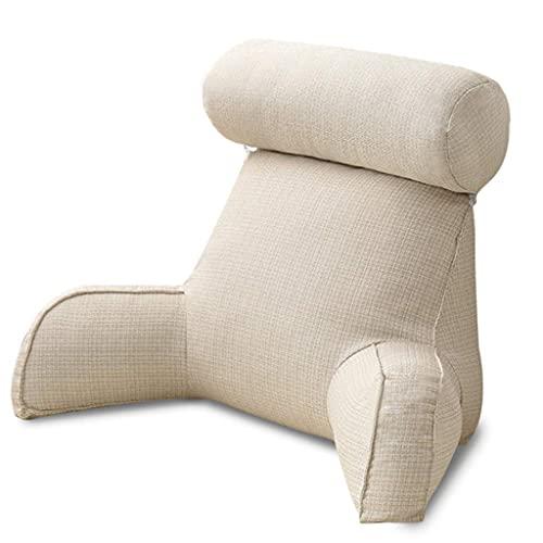KSSPNL 29,5x15,7 Pulgadas Soporte De Espalda para Sentarse En La Cama Sofá De Lectura Almohada Cuña De Cama Gran Respaldo para Adultos Cojín De Salón con Brazos Y Bolsillos