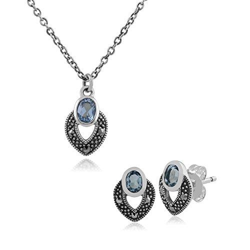 Gemondo Ohrstecker Sterling Silber Art Deco Blau Topas & Markasit Ohrring und 45cm Halskette Set