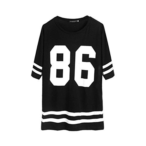 Jagenie - Camiseta de béisbol para mujer, manga corta, talla grande, vestido suelto, estilo universitario, con número impreso. Small