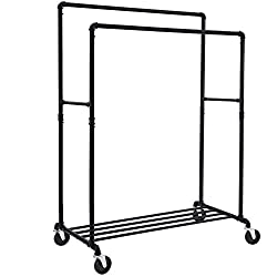 Songmics Industrial Clothes Rack Double Rail on Wheels