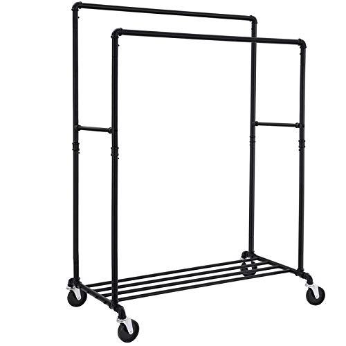 SONGMICS Schwerlast Metall Kleiderständer auf Rollen, bis 110 kg belastbar, im Industriedesign, mobiler Garderobenständer mit 2 Kleiderstangen, zur Warenpräsentation, Schwarz HSR60B