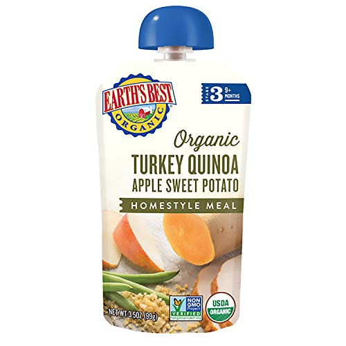 Earth's Best Organic Stage 3 Baby Food, Turkey Quinoa Apple Sweet Potato, 3.5 oz. Pouch, Pack of 6