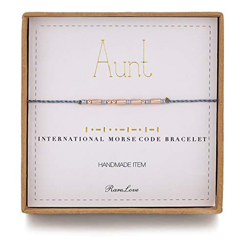RareLove Aunt Morse Code Bracelets Best Aunt Christmas Gift Women Girls Rose Golden Beads Grey String Bracelet