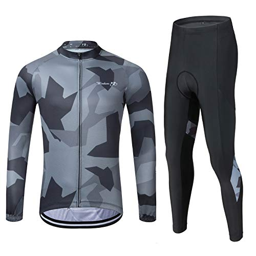 Men's Cycling Jersey Set Long Sleeve MTB Road Bike Clothing with 3D Padded Shorts Breatbale/Quick-Dry Riding Outfit Camo/Black