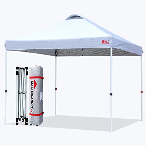 MASTERCANOPY Pop-up Canopy Tent Commercial Instant Canopy with Wheeled Bag,Canopy Sandbags x4,Tent Stakesx4 (10'x10',White)