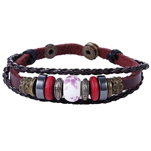 Morella Damen Lederarmband geflochten rotbraun mit Beads und Perlen