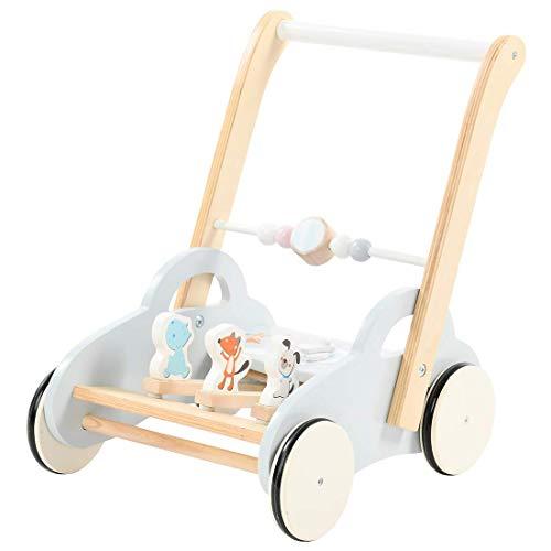 labebe Kinder Lauflernwagen Holz Auto Baby Lauflernhilfe mit Uhr und Tier Spielspaß Activity Babywalker Kinderwagen mit Rädern für 1-3 Jahre