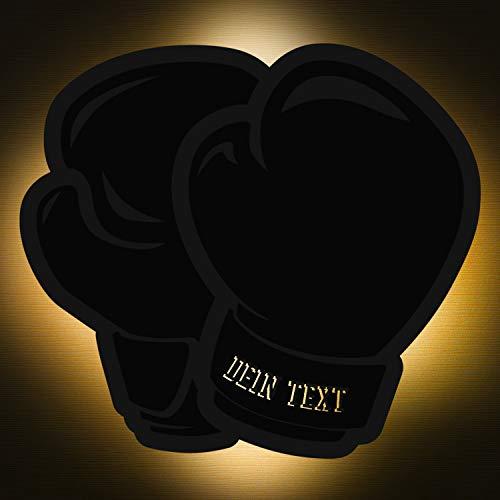 Elbeffekt Boxen Lampe aus Holz - personalisierbares Geschenk für Jungen - Kinderzimmer Deko - personalisierbar zum Hinstellen/Aufhängen - Geschenk für Boxer - persönliches Geschenk