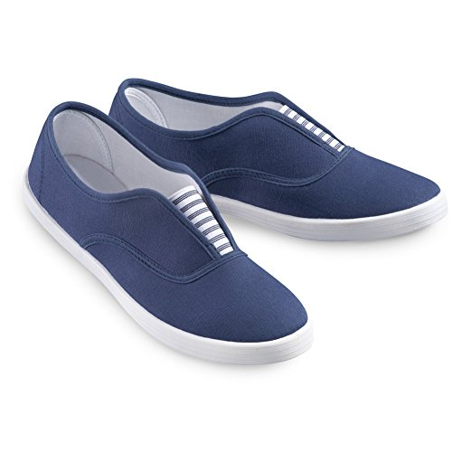 Collections Etc Slip-On Sneaker Shoes with Padded Insoles and Stripe Accent, Cotton, Navy, 11