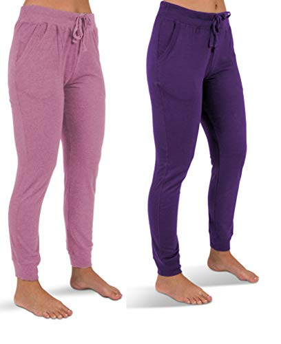 Sexy Basics Women's 2 Pack Soft French Terry Fleece Jogger Sweatpants (2 Pack- Ultra Violet/Pink Lavender, Large)