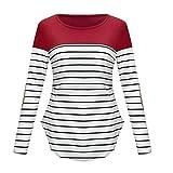 LSAltd Mutterschaft Tops, Frauen Casual Farbe Patchwork gestreiften Langarm Slim Stillen Stillen Pullover Bluse