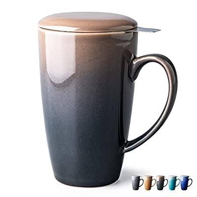 GBHOME Tea Cups with Infuser and Lid, 19 Ounces Large Tea infuser Mug, Tea Strainer Cup with Tea Bag Holder for Loose Tea, Ceramic Tea Steeping Mug, Black Gradient