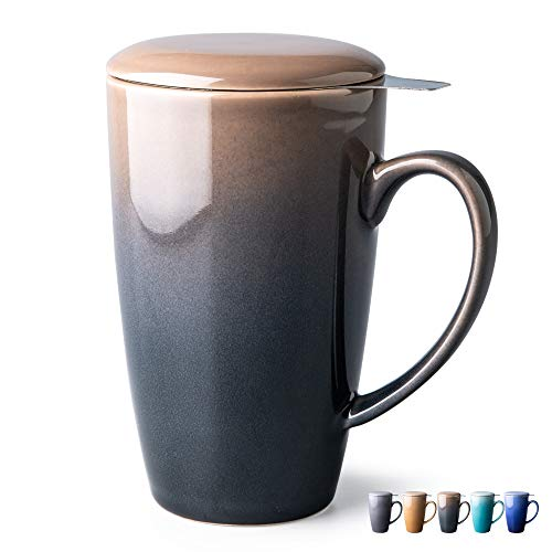 GBHOME Tea Cups with Infuser and Lid, 19 Ounces Large Tea infuser Mug, Tea Strainer Cup with Tea Bag Holder...