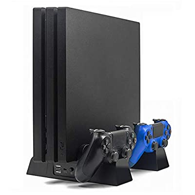 YYKJ PS4 Stand with Dual Controller Charging Station, 2 Wireless Bluetooth Handles /3 Fan Cooling Fans and 13 Game Memories, Suitable for PS4/SLIM/PRO