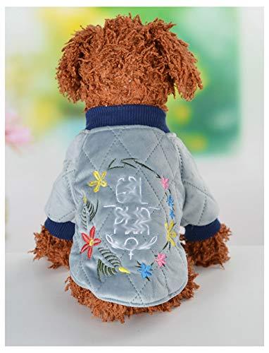 Huisdier kleding, Herfst Mode Warm Geborduurde Trui Winter Hond Teddy Comfortabele Huisdier benodigdheden, Small, Blauw