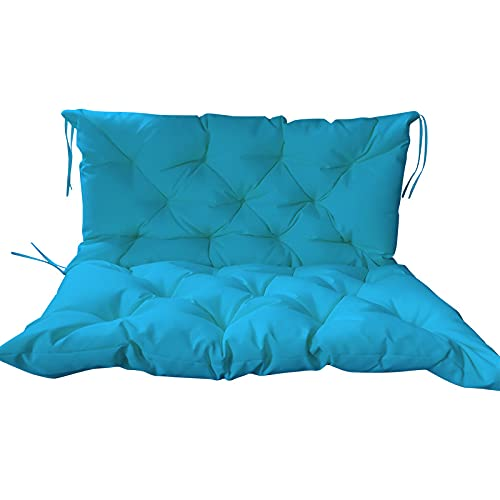 Shauzeh Cojín de banco grande para jardín de 2 a 3 plazas, 120 x 100 x 10 cm, algodón elástico de alta calidad, para jardín al aire libre, terraza, columpio (150 x 100 x 10 cm), color azul