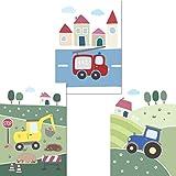 LALELU-Prints   A4 Bilder Kinderzimmer Poster   Süße Fahrzeuge   Babyzimmer Deko Junge Mädchen   3er Set Kinderbilder (DIN A4 ohne Rahmen)