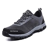 [XYZL] 登山靴 メンズ トレッキングシューズ 合成皮革 防臭 防水 ノンスリップ カジュアル ローカット 超軽量 ウォーキング 靴 衝撃吸収 街履き アウトドアスニーカー 28.0cm ハイキングシューズ グレー カジュアルシューズ 日常着用