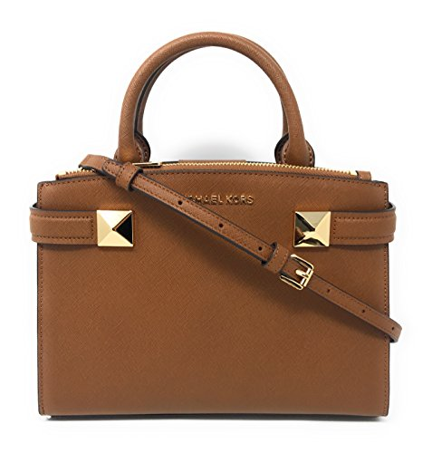 "Saffiano leather with gold tone hardware. Approximate measurement 7.75"" (H) x 10"" (L) x 3"" (D); Double handle with 3.5"" drop Adjustable and removable crossbody strap with drop length of 22"" Interior features 1 zippper compartment. Overlap magnetic cl..."