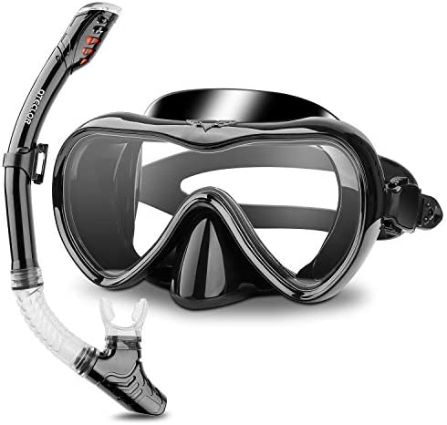 Snorkel Mask Set Snorkeling Gear Dry Snorkel Set and Mask Kids Adults Anti Fog 180 Degree Seaview product image