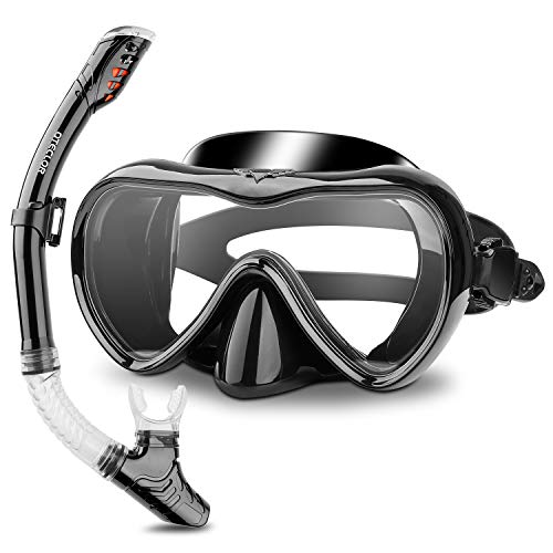 Snorkel Mask Set Snorkeling Gear – Dry Snorkel Set and Mask Kids Adults Anti Fog 180 Degree Seaview with Mesh Bag, Scuba Diving Swimming Training Equipment Youth Junior Men Womens (Black, Adults)