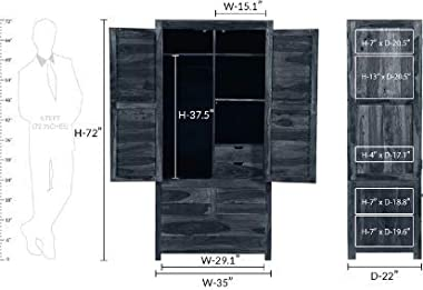 Shilpi Sheesham Wood Standard Size Multipurpose Storage Wooden Almirah Part of 2 Cabinet Living Room Wardrobe