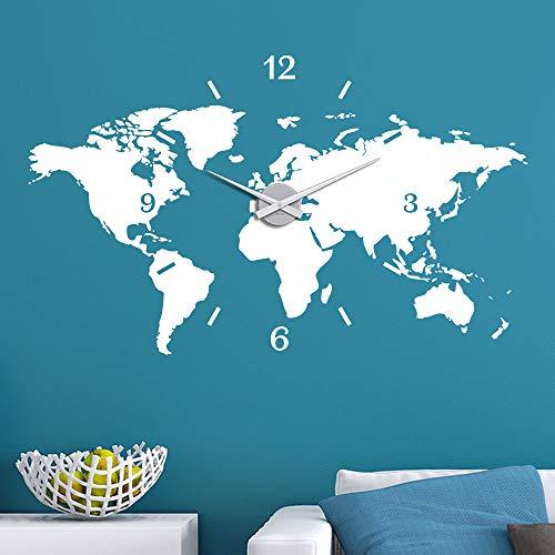 KLEBEHELD® Wandtattoo Uhr Weltkarte Erde Globus Karte Farbe schwarz, Größe 180x108cm   Uhrwerk silber, Umlauf 90cm