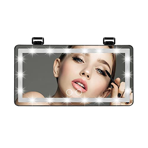 Black Lithium Batter 60 Leds Car Sun Visor Makeup Mirror Auto Interior 3 Color Lighting Modes Cosmetic Rearview Mirror Touch Switch Abs Baby Mirrors