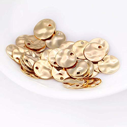12pcs Hammered Disc Charms 8mm Polished Gold Plated Brass Round Coin Beads (8mm Diameter)