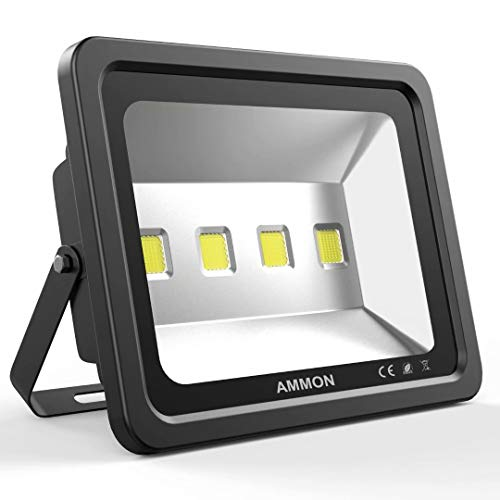 AMMON LED Flood Light, 200W Outdoor Waterproof IP65 20000lm Super Bright Flood Lamp Cool White 6000K Spotlight Lamp Daylight for Garden Yard, Playground,Warehouse, Billboard, Commercial(black-200watt)
