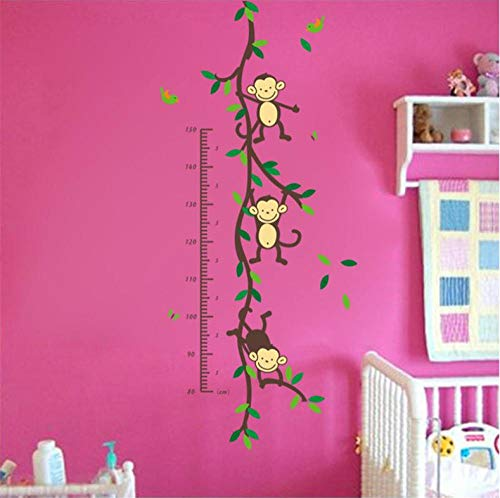GVFTG 150 cm Cartoon Tree Monk Child baby hoogte groei kaart miratie muur sticker kinderkamer school Materna decoratie geschenk verjaardag 108 x 47 cm