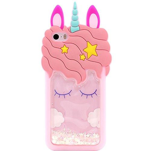 Funda para iPhone SE, iPhone 5/5S, MC Fashion Cute 3D Pink Unicorn [Fluido líquido Flotante Glitter Stars], a Prueba de Golpes y Funda Protectora de Silicona Suave para Apple iPhone 5/5s/SE