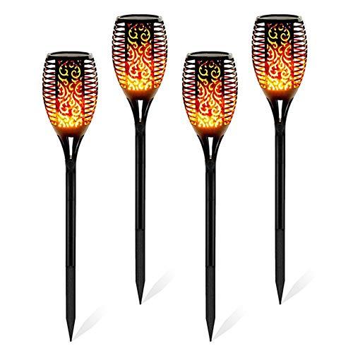 N/N Solarleuchte Garten, LED Solar Taschenlampe mit flackernder Flamme, Outdoor Solar Flammeneffekt Laterne, Landschaftsdekoration Stick Light für Patio Einfahrt Weg Einfahrt (4 PCS)