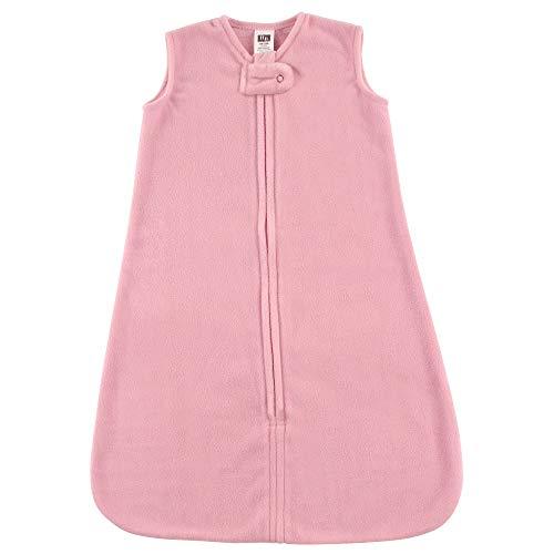 Hudson Baby Unisex Baby Plush Sleeping Bag, Sack, Blanket, Solid Light Pink Fleece, 6-12 Months