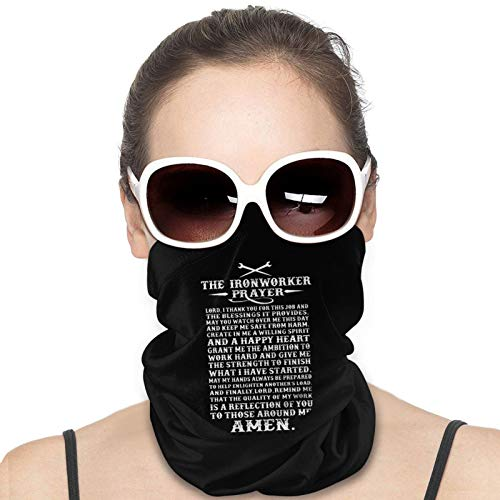 Ironworker The Ironworker Prayer Awesome T S Face Mask Neck Gaiter Multi-Functional Balaclava Bandana for Dust Outdoor Black
