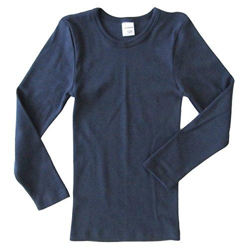 HERMKO 2830 Kinder Langarm Shirt aus 100% Bio-Baumwolle, Unterhemd für Mädchen und Jungen, Farbe:Marine, Größe:164