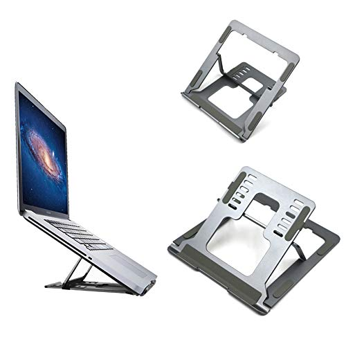 NewWe Laptop Stand,Portable Tablet Stand Laptop holder, Ergonomic Adjustable Laptop Riser with 6 Levels Height Adjustment, Compatible with Pro/Air/Notebook/Tablet up to 15.6',Foldable, Space Grey