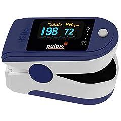 Pulox PO-200A pulsoximeter med larm, pulston och automatiskt roterbar display blå för att mäta blodets syremättnad SpO2 och puls