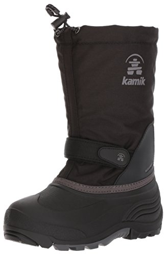 Kamik Girls' Waterbug5 Snow Boot, Black/Charcoal, 6 Medium US Big Kid