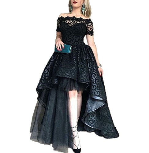 LeoGirl Womens Off Shoulder Lace Tulle High Low Prom Dresses Fancy Masquerade Ball Dress Evening Gown (12, Black)