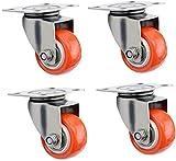 Beautiful happy Ruedas para muebles resistentes de 5 cm con freno universal giratorio de acero inoxidable con ruedas de repuesto para carretilla industrial (color: 4 sin frenos, tamaño: 5 cm)